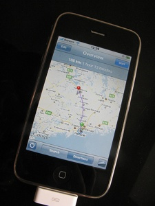 iPhone calculates 108km to the hash