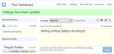 cover image for Posting to Qaiku via ping.fm
