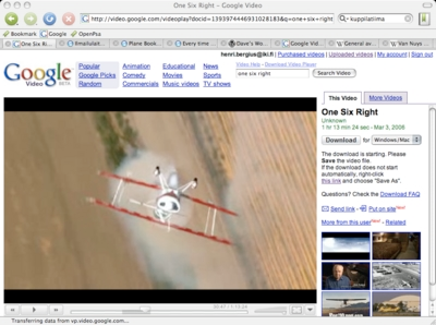 cover image for One Six Right on Google Video