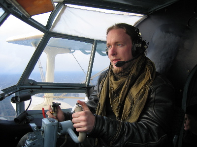 Bergie in An-2 cockpit