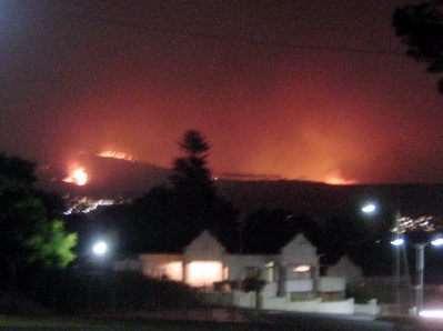 Signal Hill inferno at night
