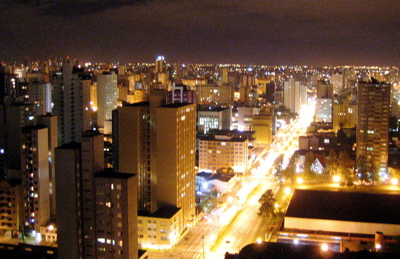 Curitiba at night from Bristol Brazil 500 hotel