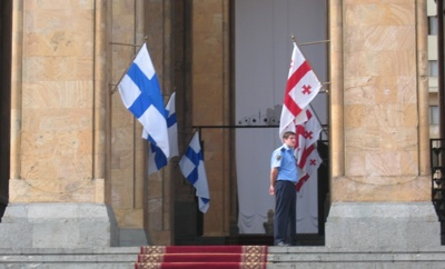 Georgian and Finnish Flags in the Parliament