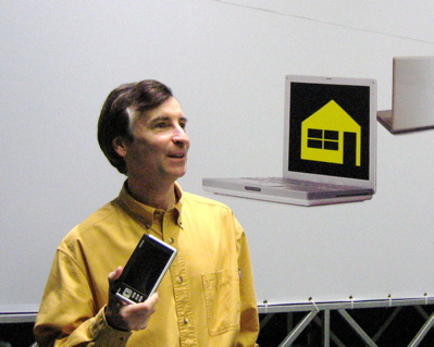 Tim showing the Nokia 770