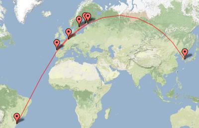 Dopplr travel map