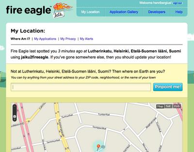Fire Eagle location from Jaiku