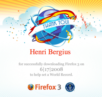 Firefox 3 Download Day thank you certificate
