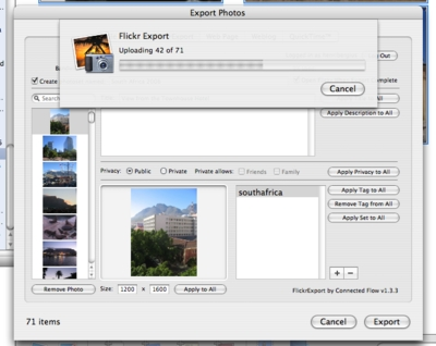 Uploading images via FlickrExport
