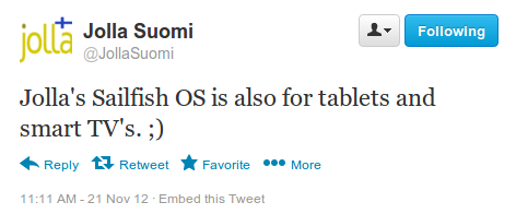 Sailfish OS for tablets tweet