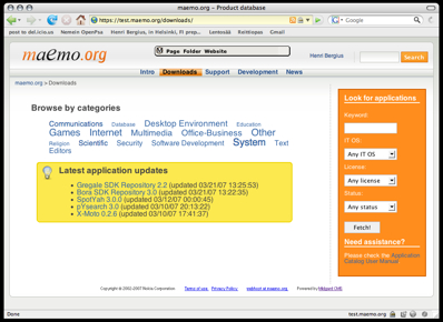 Maemo-Application-Catalog-Front-Page