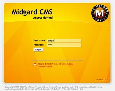 MidCOM 2.6 login screen