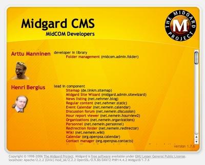 MidCOM 2.6 credits screen