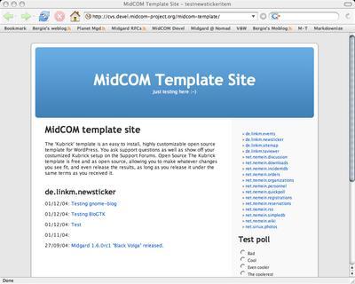 Kubrick running a Midgard test site