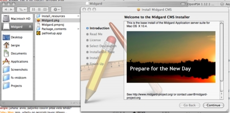 Midgard CMS installer for OS X
