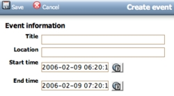 Event creation in OpenPsa Calendar