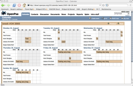 Horizontal weekly calendar in OpenPsa 2