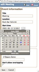Calendar event editor