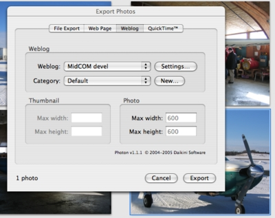 Exporting photos into the blog from iPhoto