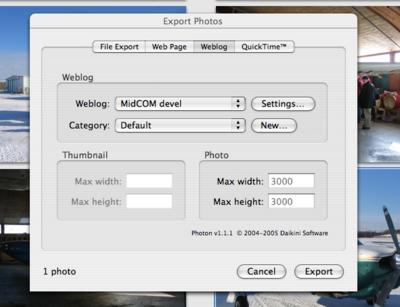 iPhoto's Share Weblog tab