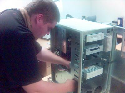 Rambo installing the new disks
