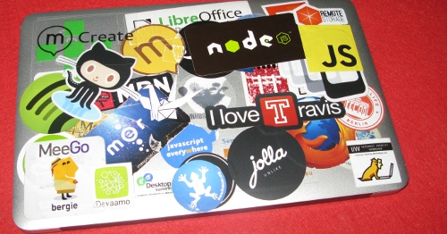 Jolla sticker on a MacBook Air