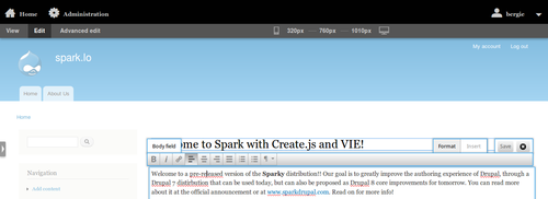 Spark edit running on Create.js