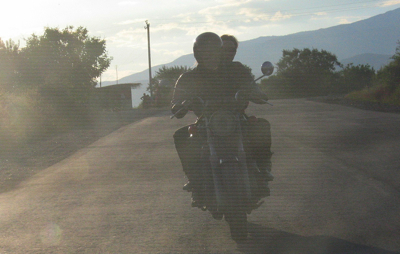 Motorcycling in a Georgian sunset