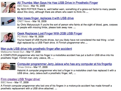 Google News showing USB finger stories