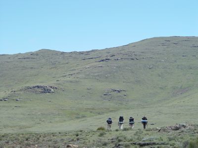 Walking towards Thabana Ntleanyana in Lesotho, 2004