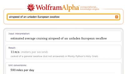 Wolfram Alpha meets Monty Python