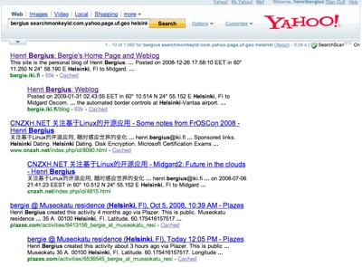 Yahoo! semantic geo query